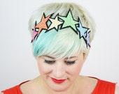 Glitter Pastel Rainbow Stars Headband