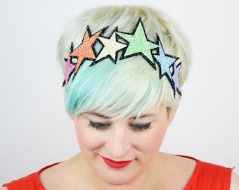 SALE - Glitter Pastel Rainbow Stars Headband - Christmas In July CIJ