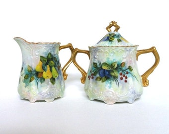 Vintage Sugar and Creamer Set// Fruit Pattern//Mid Century// Japan//Vintage Kitchen//