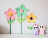fabric wall flower, 3d wall decor for girls room, nursery wall decor, green fabric flower