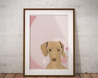 Dachshund Derp Face Dog Print 8 by 10