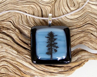 Black Tree Fused Glass Pendant - Smokey Blue Swirl and Black Fused Glass Jewelry - Handmade Glass Jewelry