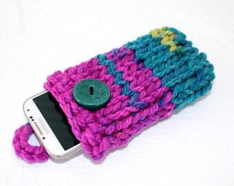 Magenta Knit Phone Sleeve, Knit LG Phone Case, Knit IPhone 6 Plus Sleeve, Pink Knit Phone Sock, Fits Galaxy Note, HTC 8X, LG, Edge, Purple