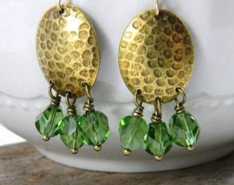 Green Chandelier earrings Antique Brass boho gypsy earrings Dangle earrings Bohemian Earrings