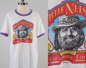Vintage 70s Willie Nelson t shirt / From TEXAS with Love / 1977 Franks Bros design Austin Texas