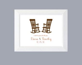 Wedding Print, Rocking Chairs,  Wall Art, New Couple,  Home Decor, Typography, Wall Decor, Bridal Shower Gift, Wedding Gift, Prints