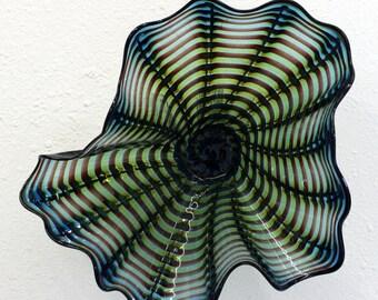 Beautiful Hand Blown Glass Art Wall Platter Bowl 6743 ONEIL