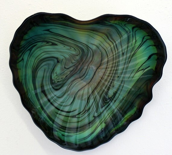 beautiful hand blown glass art wall platter bowl marble green. Black Bedroom Furniture Sets. Home Design Ideas