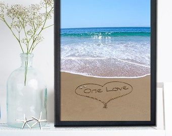 One Love Sign - Gift for him for Christmas - Gift For Her - Unique Wedding Gift - Engagement Gift - 1st Anniversary Gift Paper - Beach Sign