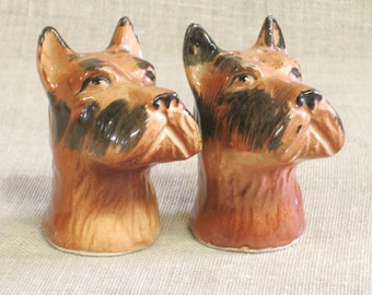 Vintage Dog Head Salt and Pepper Shakers, Serving, Entertaining, Scottish Terrier, Canine, Pair, Set, Ceramic,Hand Painted,Japan,Mid-Century