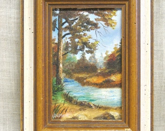 Landscape Painting, Small Painting, Original Painting, Framed, Forest, Nature, River, Water, Fine Art, Paintings, Trees and River, Shoreline