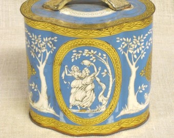 Candy Tin, Biscuit Tin, Tins, Vintage Tins, Tea Tin, Metal Box, Box, Boxes, Storage, Organization, Odd Shaped Tins, Blue and White, European