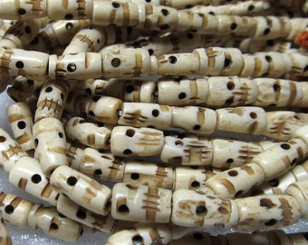 Bone Beads 12 x 6mm Natural Hand Carved Smooth Cream Bone Tubes -  20 Pieces