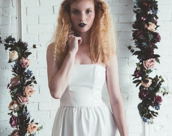 White Faux leather strapless tea length wedding dress