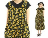 RESERVED Please Do Not Buy Vintage 90s Daisy Jumper Black Corduroy Dress Midi Skirt Floral 1990s Large L Hippie Boho Indie