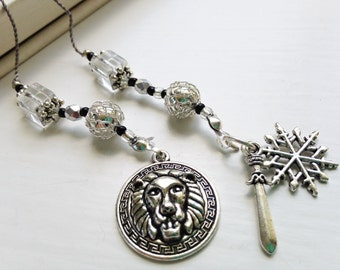 Chronicles of Narnia Bookmark Gift Beaded Book Thong with Silver Lion and Snowflake Charms CS Lewis Fan Lion Witch Wardrobe Rear View Mirror