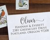 Custom Address Stamp, Return Address Stamp, DIY Wedding address stamp, Calligraphy Address Stamp, Self inking or Eco mount stamp  - Oliver