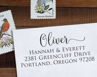 Custom Address Stamp, Return Address Stamp, DIY Wedding address stamp, Calligraphy Address Stamp, Self inking or Eco mount stamp  - Oliver