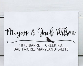 Custom Address Stamp, Return Address Stamp, Wedding address stamp, Self inking or Eco Mount stamp - Calligraphy Bird