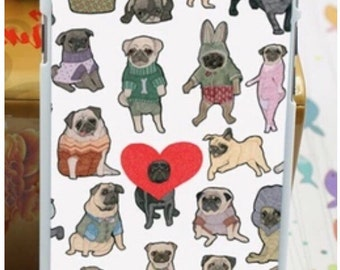 Pug dog iPhone 6 hard case cover apple kitsch valentines gift