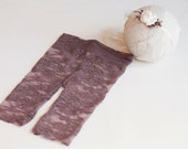 Newborn Pants set. Newborn Lace Pants. Tieback Headband. Brown. Leggings. Stretch Lace. Photograpy Prop. Headband.  Evelyn Tolola Design.