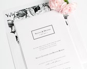 Boxed Monogram Wedding Invitation - Black and White - Classic, Traditional - Garden Wedding Invitations - Floral Wedding Invite - Sample Set