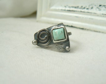 Oxidized Sterling silver Ring with square Amazonite cabochon - READY TO SHIP - Size 7.5