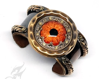 Steampunk Evil Eye Cuff Bracelet ~ Flaming Glass Eye ~ Leather Lined ~ Brass w/ Chains ~ Cold Connected, Not Glued ~ Hand Patina #B0159