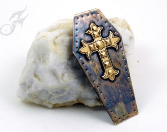 Coffin Lid Tack Pin w/ Gothic Cross ~ Hammered Brass, Riveted & Soldered ~ Two Posts ~ #Pin0083 by Robin Taylor Delargy
