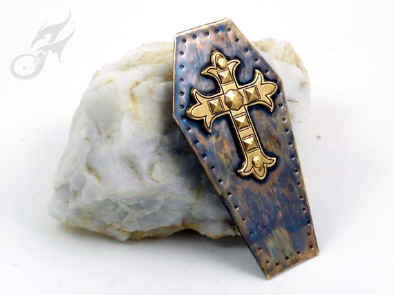 KNIGHTFALL Series ~ Coffin Lid Tack Pin w/ Gothic Cross ~ Hammered Brass, Riveted & Soldered ~ Two Posts ~ #Pin0083 by Robin Taylor Delargy