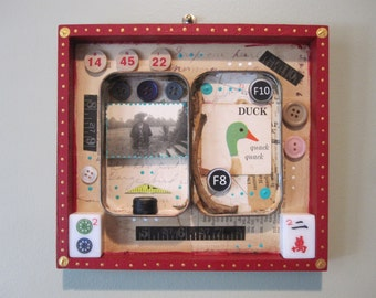 Mixed media assemblage, found object shadow box, recycled home decor