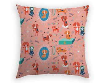 Throw Pillow Beagle Cushion Cover Slip Sham Cute Dog Home Decor Coral Green Blue Tan Decorative Pillow Linen Cotton Best In Show Australia
