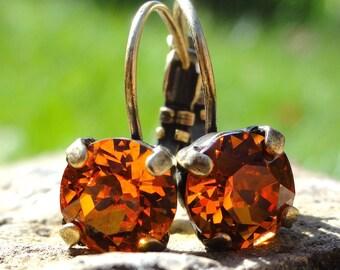 Orange Swarovski Crystal Earrings, Orange Crystal Earrings, Tangerine Crystal Earrings, Tangerine Swarovski Earrings, Bridesmaid Earrings