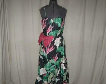 Vintage 80s Black Pink Floral Chintz Sweetheart Ruffle Bow Garden Party Dress Medium Blair Woolverton