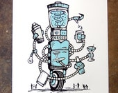 Mix-a-bot - hand pulled screenprint poster