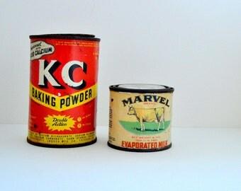 Food Tins, Vintage Tin Cans,  Succulent Planter, Red Kitchen Decor,