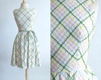 Vintage 50s Dress | 1950s Cotton Dress | Summer Vintage Cotton Embroidered Dress