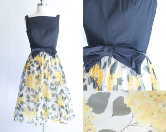 Vintage 60s Dress | 1960s Party Dress | Yellow Floral 1960s Chiffon Full Skirt Cocktail Dress Extra Small