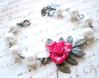 Flower Girl Bracelet Leaf Bracelet Flower Girl Gift Fuschia Bracelet Little Girl Jewelry Nature Wedding Jewelry Baby Girl Bracelet