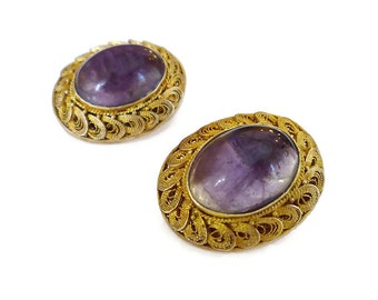 Vintage Chinese Export Amethyst Silver Vermeil Earrings - Gold Plated, Vermeil Filigree, Purple Amethyst, Vintage Earrings, Vintage Jewelry