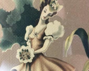 Vintage Turner framed print under glass - belle with bouquet - 1940s