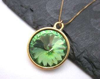Light Green Necklace -- Sparkly Green Necklace -- Peridot Crystal Necklace -- Gold & Light Green Necklace -- Peridot Swarovski Necklace