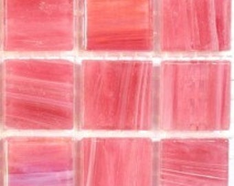 "CG880211 Pink 3/4"" Glass Mosaic Tiles- 25 pc//Mosaic Supplies//Mosaic/Pink Tiles"