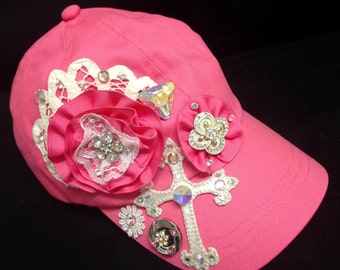 Custom Boutique Embellished Ladies  / Teen Rhinestone Cap / Hat