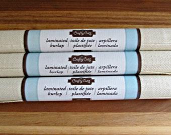 """Cream Laminated Burlap - 100% Jute - 12"""" x 47"""" - Arts, Crafts, Destash Supplies - 3 Rolls"""