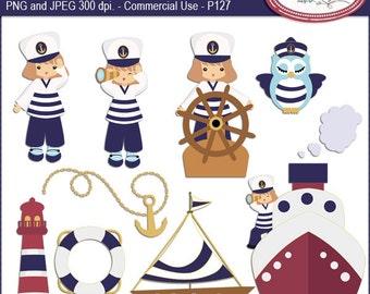Nautical clipart, sailing clipart, summer clipart, sailor kids clip art, sailor owl clip art, lighthouse clip art, P127