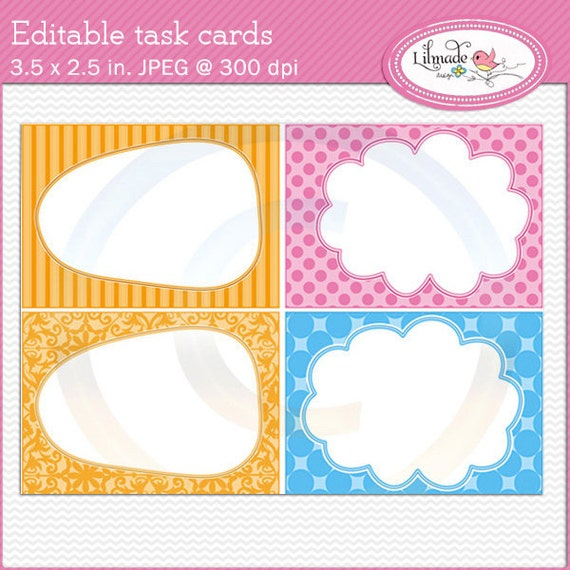 Lively image with printable task cards