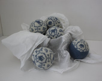 Wool Dryer Balls, Set of 5 from Repurposed Holiday Sweaters in Willow Blue
