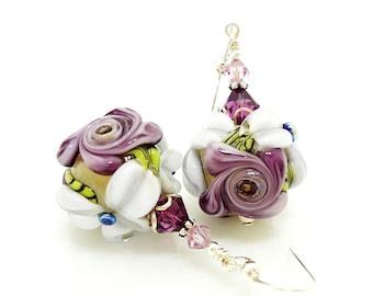 Purple Earrings, Floral Earrings, Glass Earrings, Lampwork Earrings, Flower Earrings, Glass Bead Earrings, Dangle Earrings, Drop Earrings
