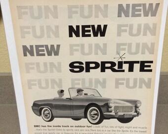 BMC Sprite automobile ad circa 1961.11x15 approx.